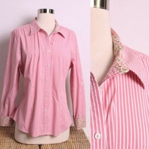 Talbots Pink White Striped Button Down Shirt 16